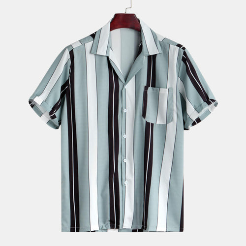 Mens Contrast Color Stripe Summer Holiday Comfy Trendy Shirts