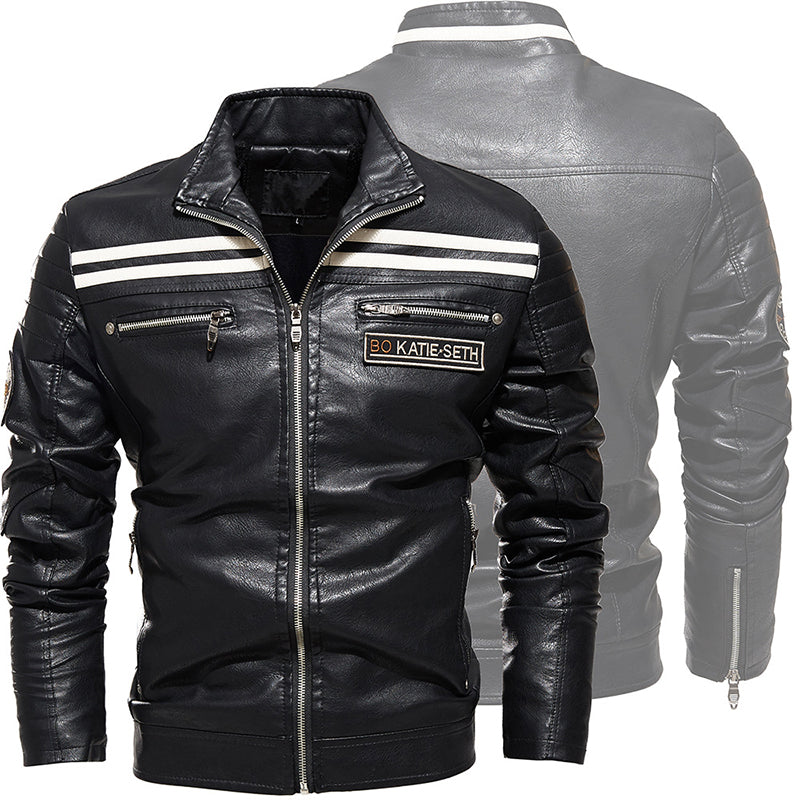Fashion Striped Splicing Men's Leather Jacket