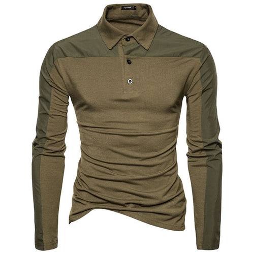 Casual Lapel Stitching Long Sleeve Polo Men's T-shirts