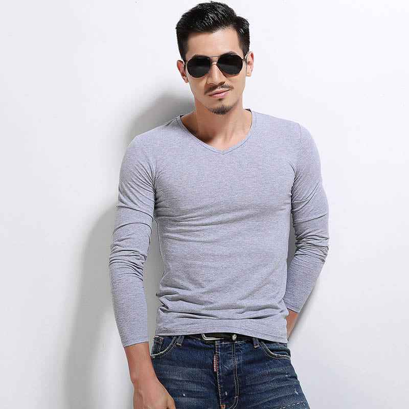 Solid Color V-neck All-match Long Sleeve Men's T-shirt