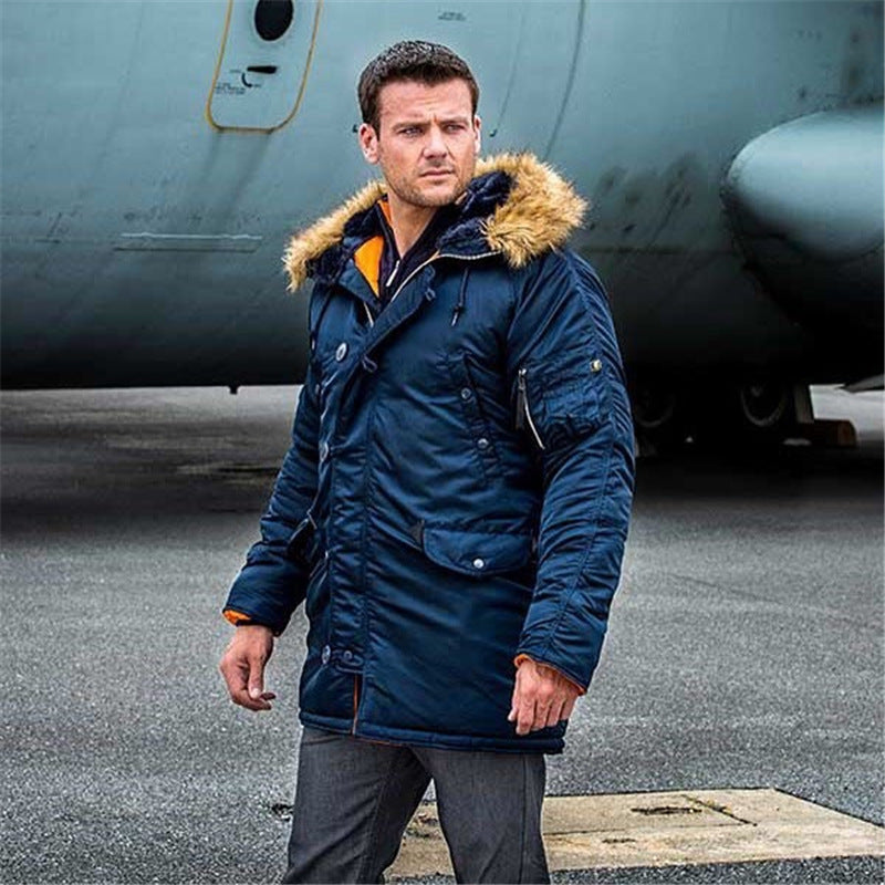 N3B Military Tactical Long Parka Men Bomber Jacket