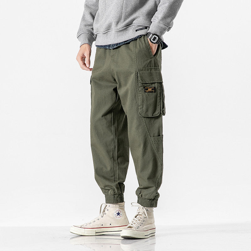 Vintage Solid Color Pocket Casual Straight Men Pants