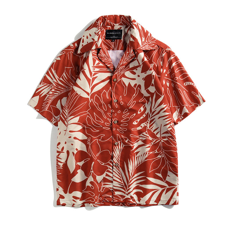 Short-sleeved Beach Tropical Vacation and Leisure Leaf Printing Men Shirt