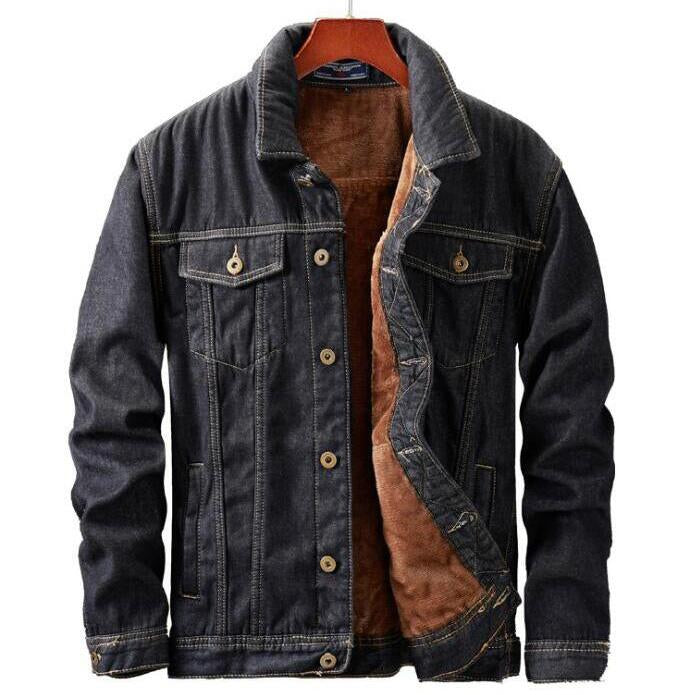 Plus Size Casual Plus Velvet Thick Warm Denim Men's Jacket