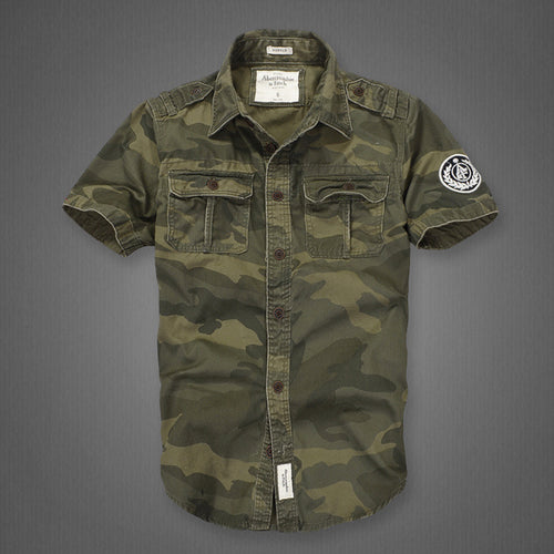 Outdoor Camouflage Loose Short Sleeve Men Cargo Shirt