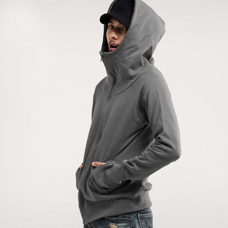 Casual Solid Color Zipper Men's Hoodie - KINGEOUS