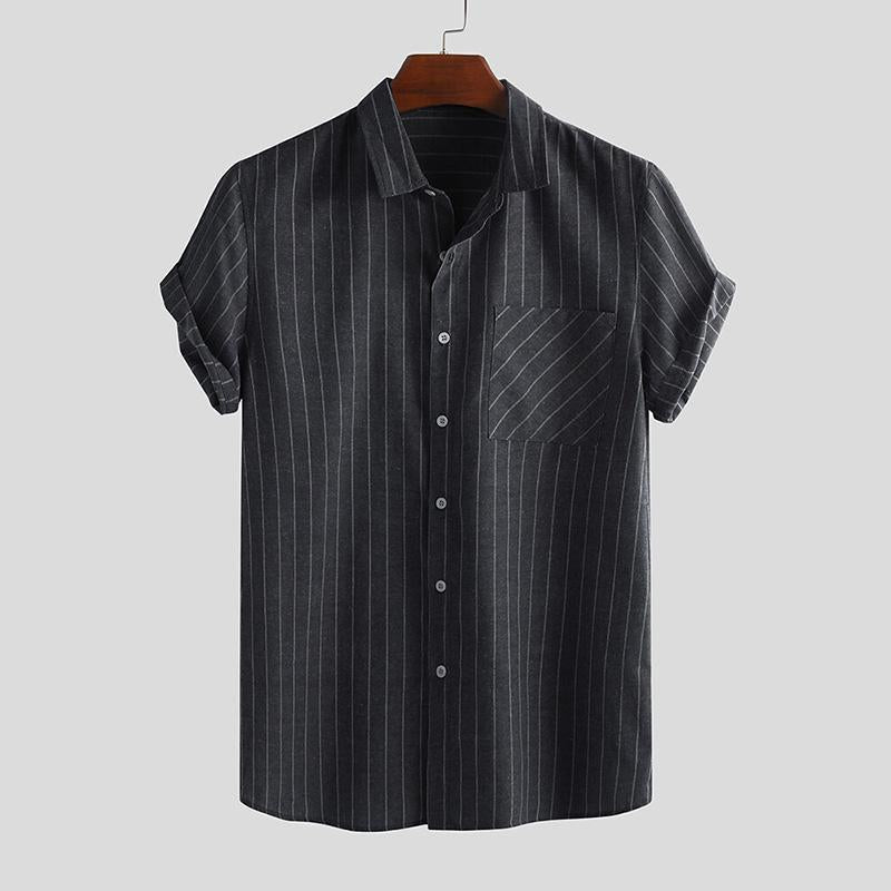Summer Stripes Printed Single-breasted Holiday Men's Shirt
