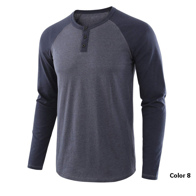 Split Joint Cotton Loose Long Sleeve Men's T-shirt