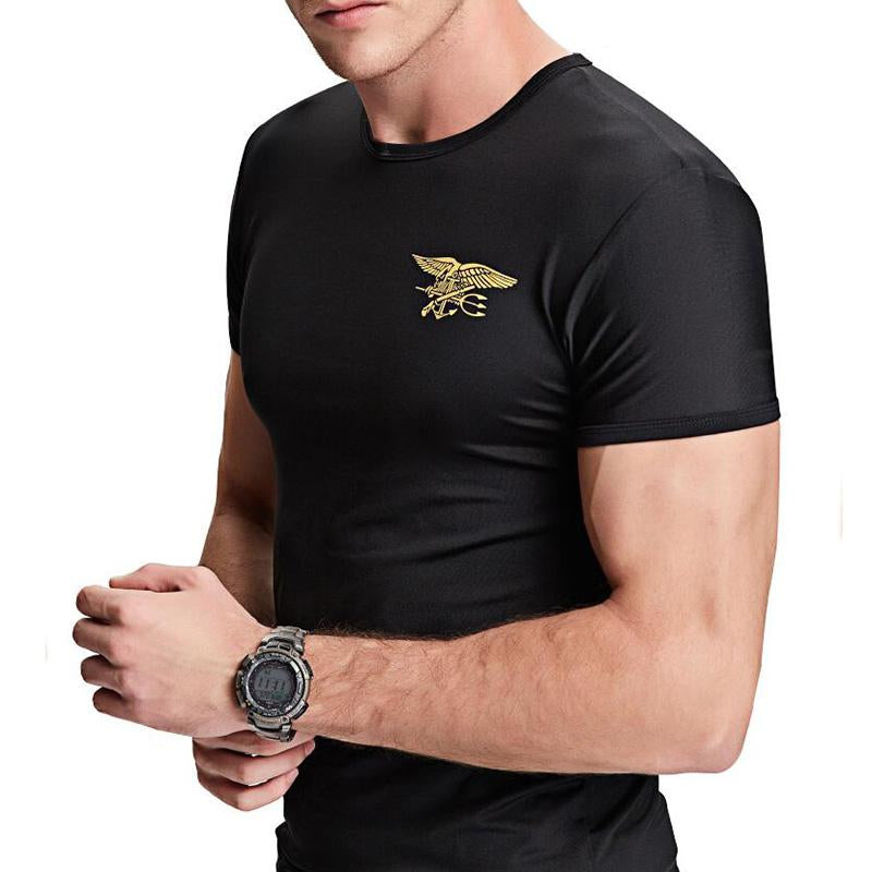Outdoor Tactical Stretch Quick-Drying Fitness Print Men's T-shirt