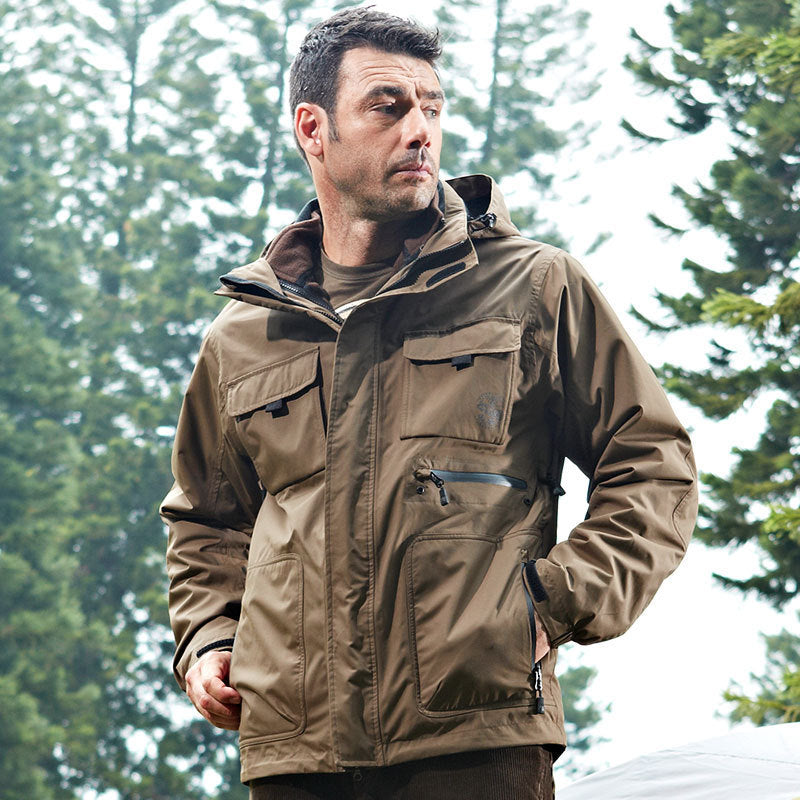 Three-in-one Windbreaker Thickened Removable Liner Cotton-padded Men Jacket