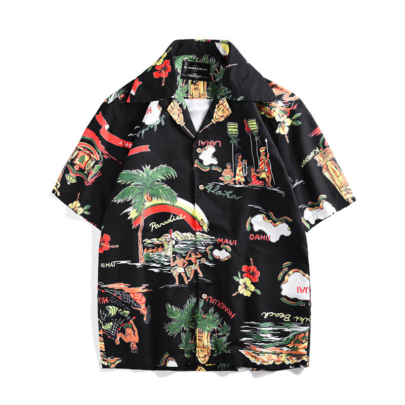 Creative Island Printed Short-sleeved Holiday Casual Men Shirt