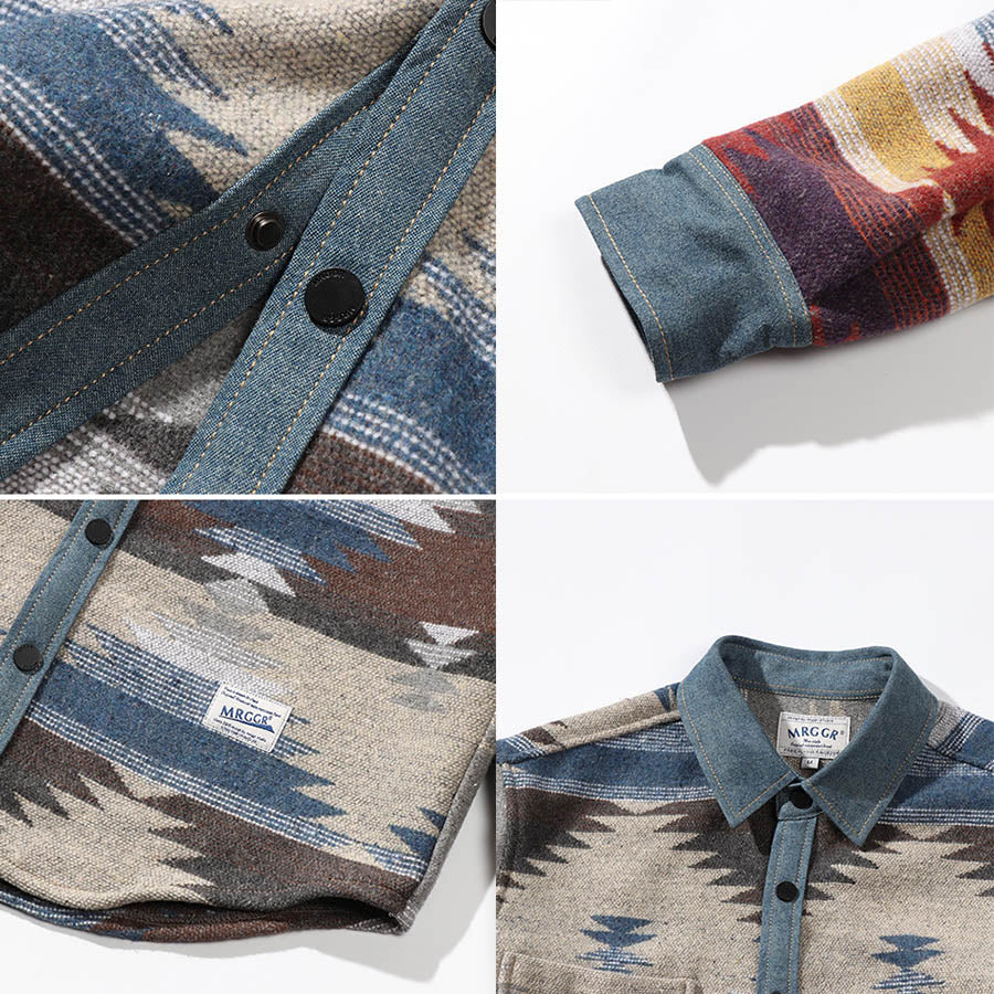 All-match Traditional Denim Split Joint Men's Shirt