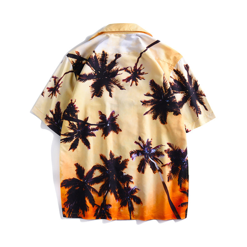 Sunset Coconut Forest Printed Short Sleeve Large Size Couple Shirt