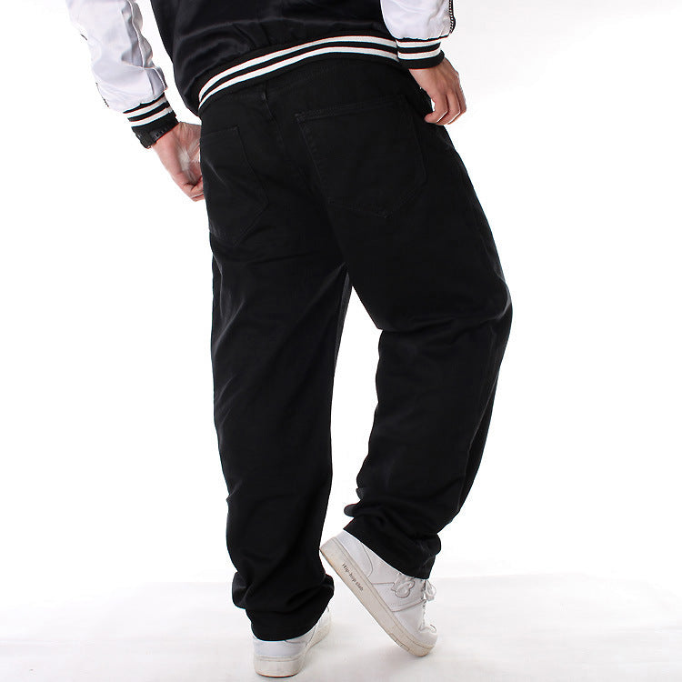 Daily Loose Black Relaxed Straight Men Jeans