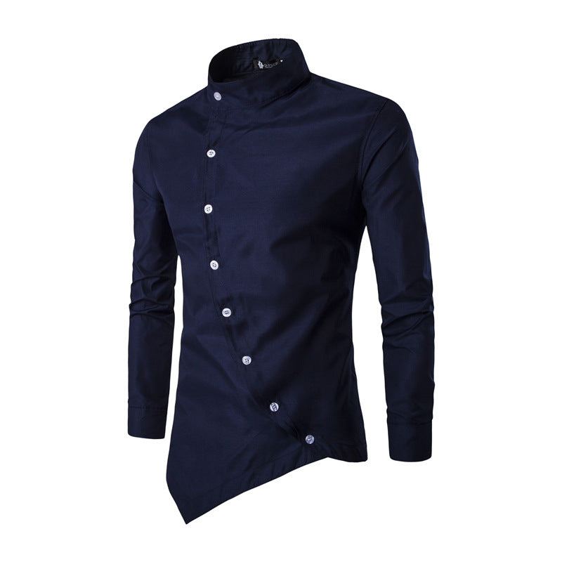Fashion Irregular Hem Long-sleeved Men's Shirt
