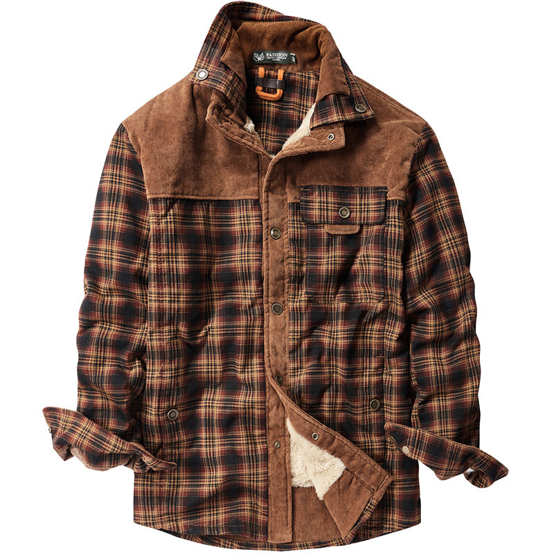 Winter cotton plaid Thick Warm men's Shirts