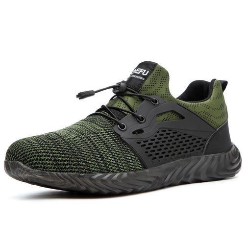 Men's Safety Shoes, Outdoor Breathable Mesh Steel Toe Anti Smashing Work Shoes