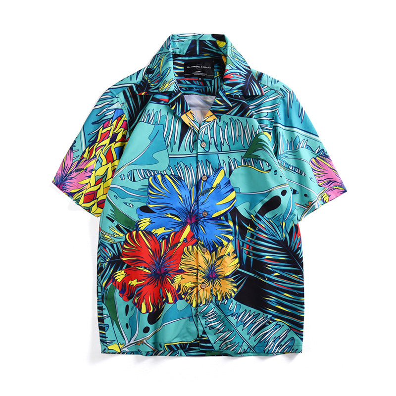 Tropical Plant Printed Beach Vacation Short Sleeves Couple Shirts