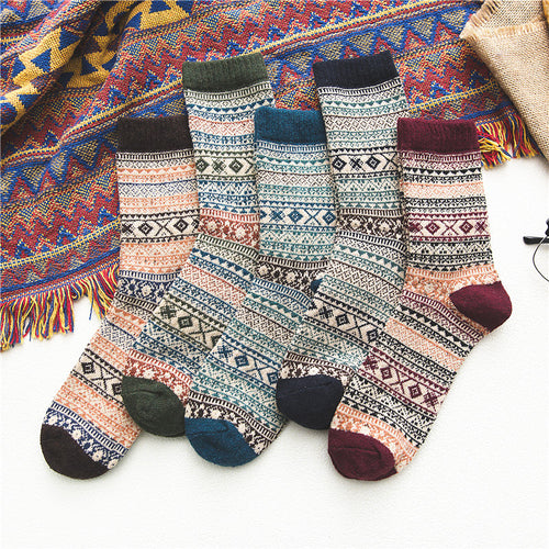 Retro Rhombus Printed Warm Men's Sock