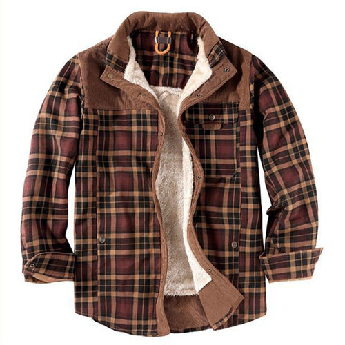Cotton Cashmere Warm Plaid Men's Shirt Coat