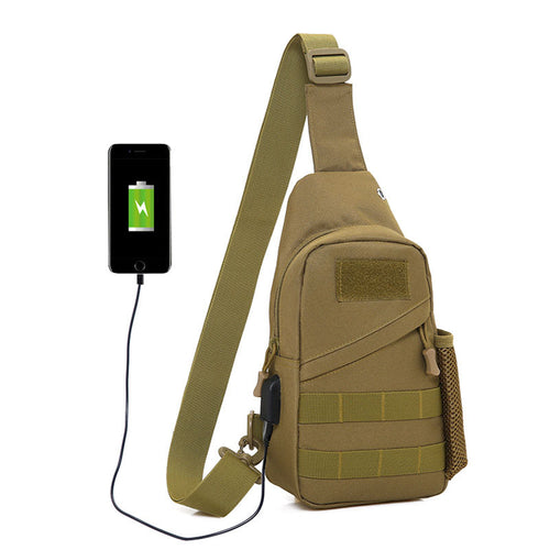 Outdoor Tactical Riding Shoulder Crossbody Bag(With USB Charging Plug)