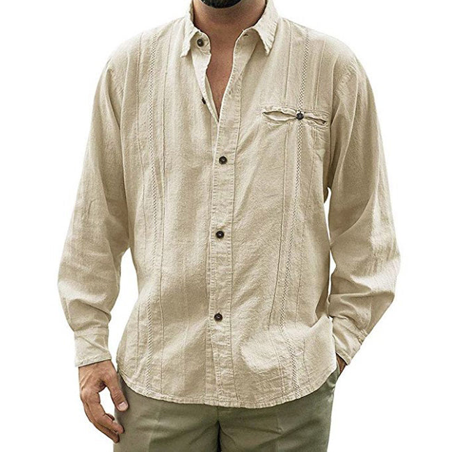 Solid Color Long Sleeve Linen Men's Shirt