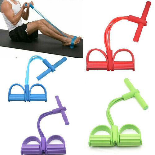 Fitness Gum 4 Tube Resistance Bands Latex Pedal Exerciser Sit-up Pull Rope