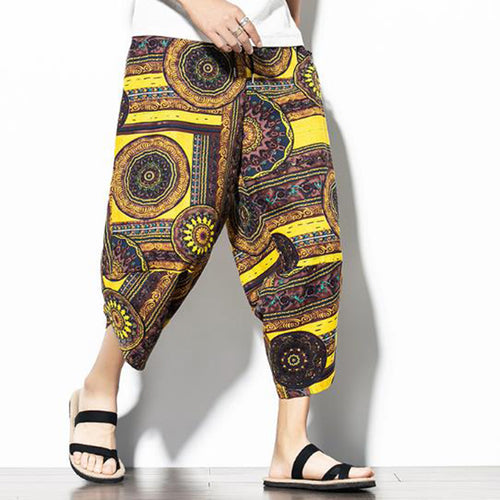 Men Casual Ethnic Vintage Print Wide Leg Pants