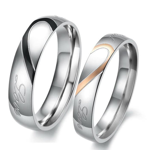 Sweet Heart Real Love Stainless Steel Couple Rings