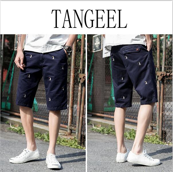 Washed Cotton Solid Color Printing Men's Shorts