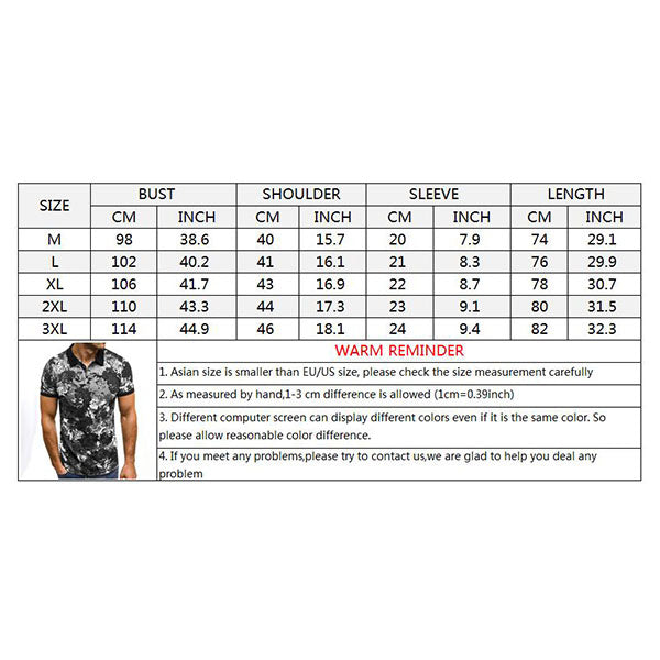 Lapel 3D Printing Short-sleeve Men's T-shirt