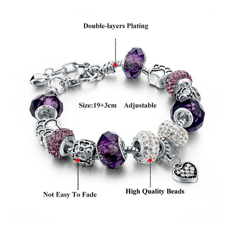 Silver Plated Bracelets With Murano Bead Charms - 9 Color Options