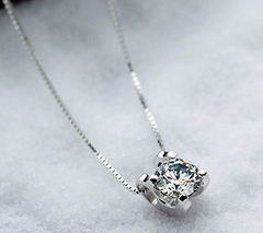 Platinum Plated Round Solitaire Crystal Pendant Necklace