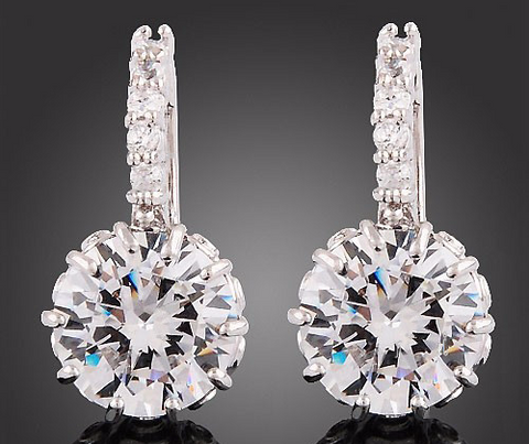 18K White Gold Cubic Zirconia Stud Earrings