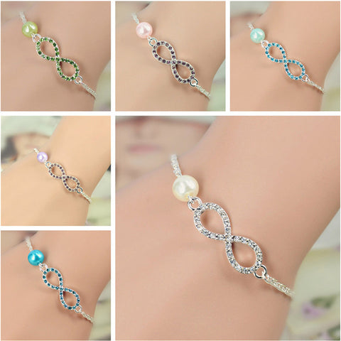Infinity bracelet With Pearl Rhinestone - 4 Color Options