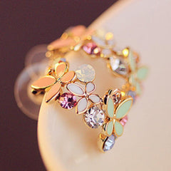 Colorful Flowers & Butterfly Rhinestone Stud Earrings