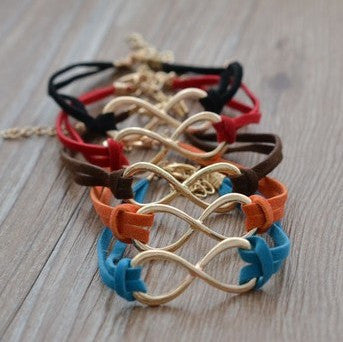 Leather Weave Bracelet With Infinity Symbol - 5 Color Options
