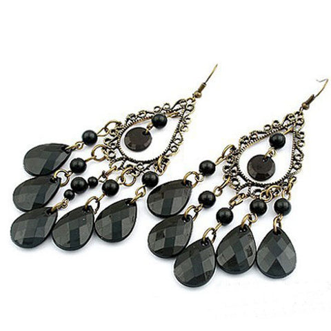 Hollow Tassel Long Drop Earrings With Stone - 4 Style Options