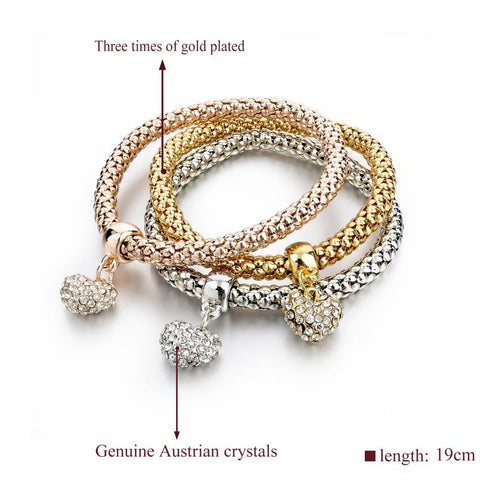 3Pcs Gold Filled Multi-Layer Charm Bracelet