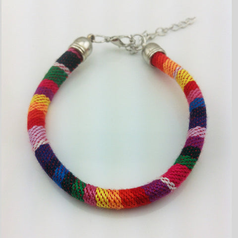 Handmade Multicolor Knitted Ribbon Bracelet