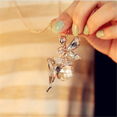 Crystal Angel Wings Necklace With Ahiny Butterfly Fairy Pendant