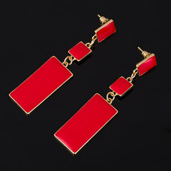 Geometric 4 Color Enamel Drop Earrings