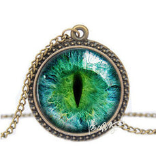 Cat Eye Rhinestone Necklace Pendant - 12 Color Options
