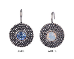 Silver Plated Blue Cubic Zirconia Stud Earrings - 2 Color Options