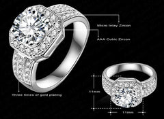 18K Gold Or Platinum Plated Cubic Zirconia Ring - 5 Sizes