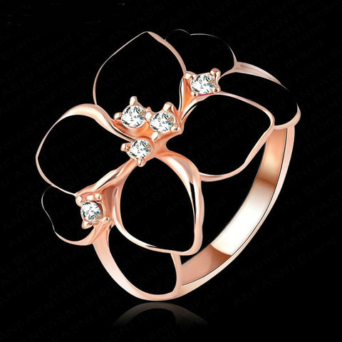 18K Rose Gold Plated White Enamel Flower Austrian Crystal Ring