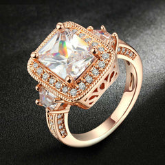 Platinum Or Rose Gold Plated Cubic Zirconia Ring - 6 Sizes