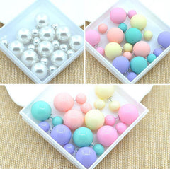 5 Pair Double Sided Simulated Pearl Stud Earrings