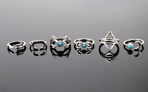 6pc Ethnic Moon Arrow Ring Set