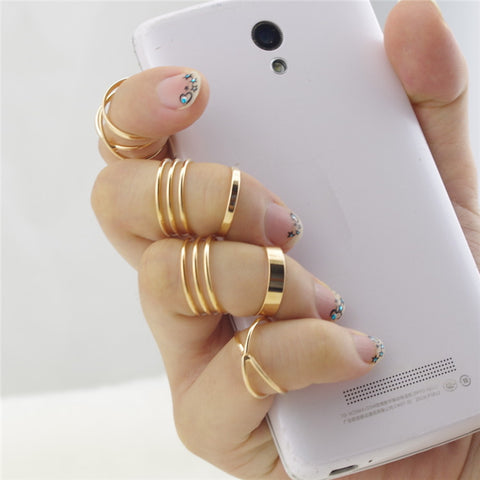 6pcs Gold Plated Stackable Midi Ring Set